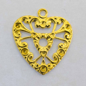 metal 19x17mm heart filigree gld 6pcs