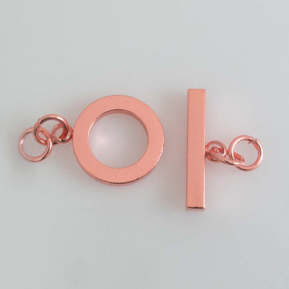 Metal 20mm FOB rnd flat NF ROSE GLD 1set