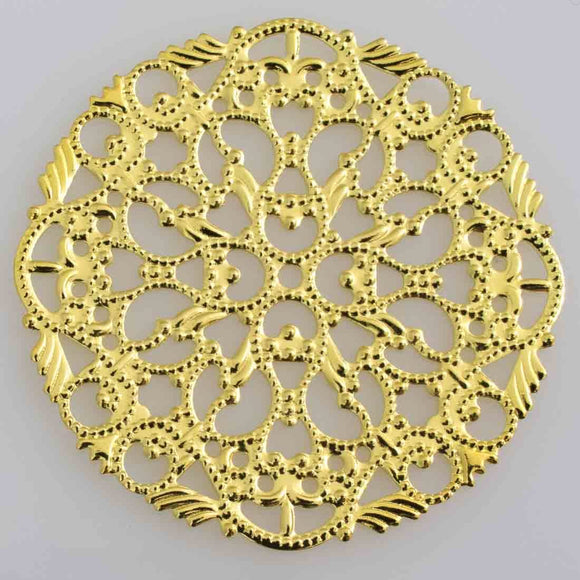 metal 44mm round filigree gld 2pcs