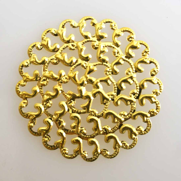 metal 35mm round filig gld 12pcs