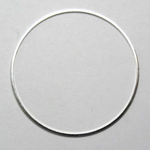 Metal 40mm rnd ring thin NF silver 20pcs