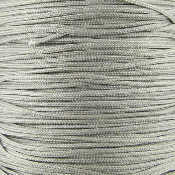 Cord 1mm rnd woven silver grey 40 metres