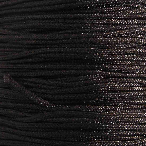 Cord 1mm rnd woven chocolate 40 metres