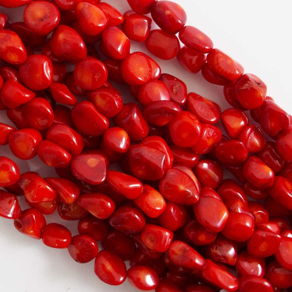 Semi prec 10mm nugget coral dyed red 43p