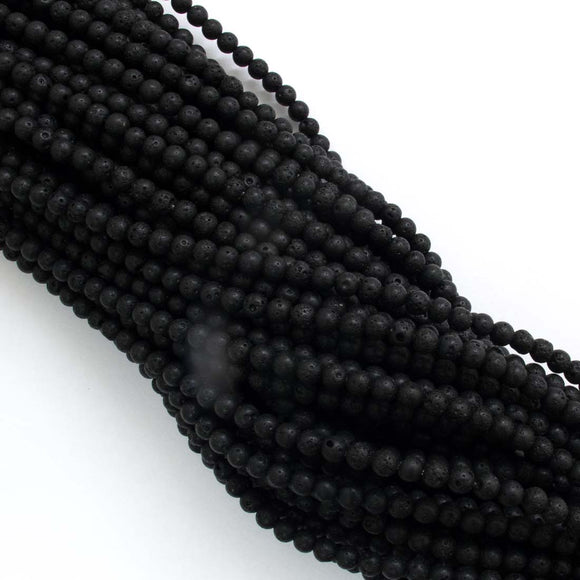 Semi prec 4mm rnd lava rock black 100pcs