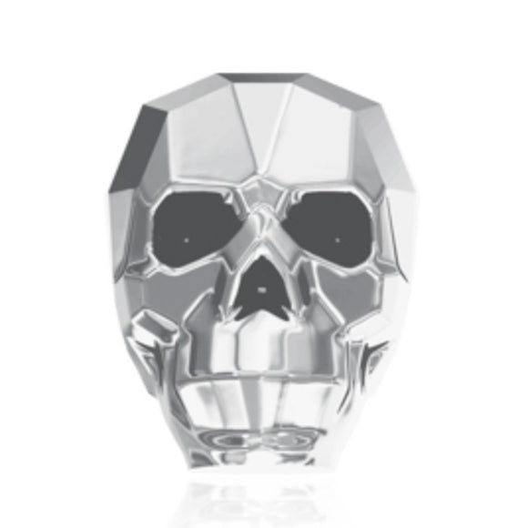 Swarovski 13mm 5750 skull lgt chrome1pc