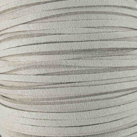 Faux suede 3mm flat light grey 80metres