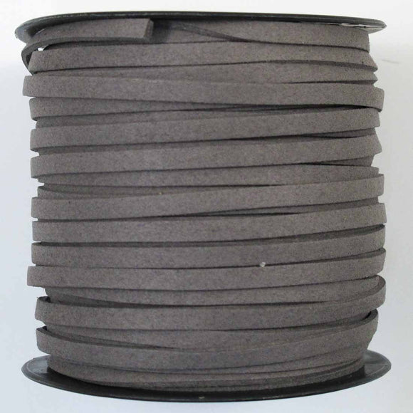 Faux suede 5mm flat charcoal 44+metres