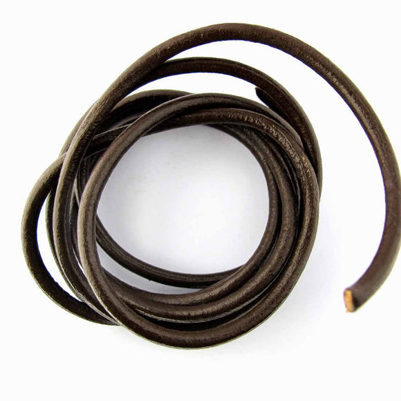 leather 4mm indian round brown 1.5mtrs