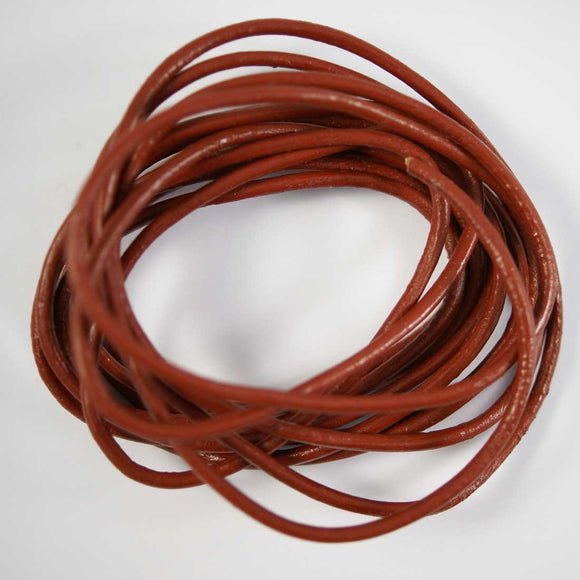 Leather round 3mm Indian rust 2mtr