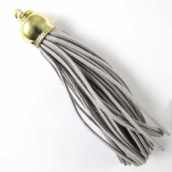 Faux Suede 110x20mm tassel lgt grey/G 1p