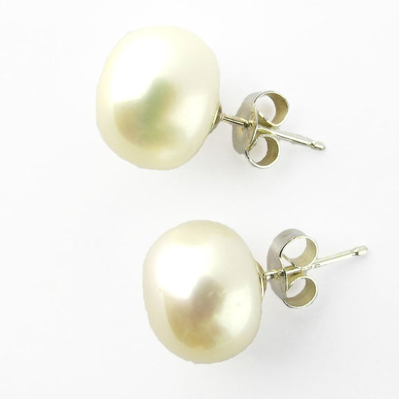 Semi Prec 11mm pearl Sterl sil stud 2pc