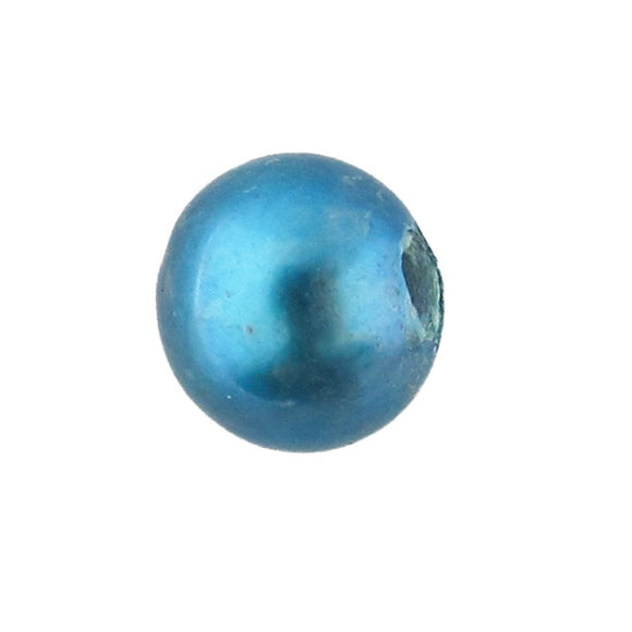 Semi prec 8mm rnd pearl lge hole blue 2p