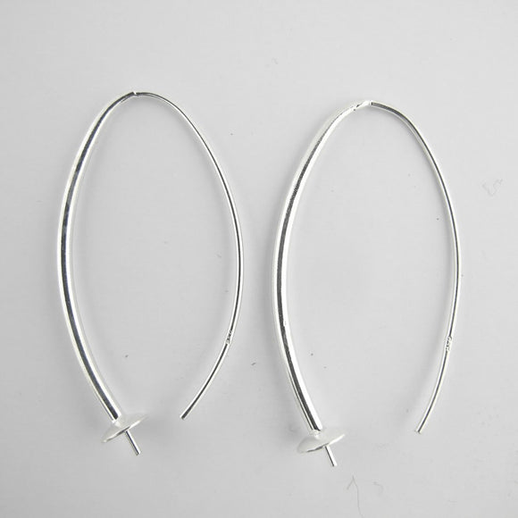 Sterling sil 40mm earring hook/stud 2pcs