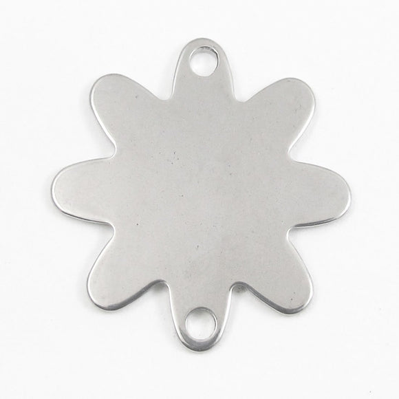 Stainless steel 33mm flower 2holes 1pc