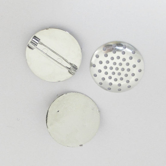 Metal 25mm brooch/seive NF nickel 10sets