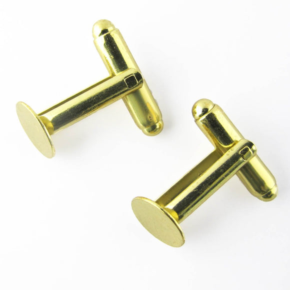 Metal 9mm pad cufflink NF gold 10pcs