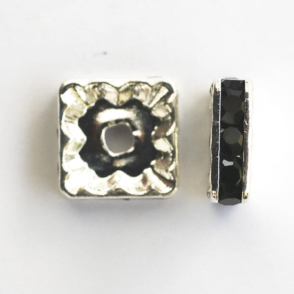 metal 10mm sqr diamante ron sil/blk 14pc