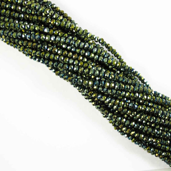 Cg 4x6mm faceted ronde olivine iris 85p