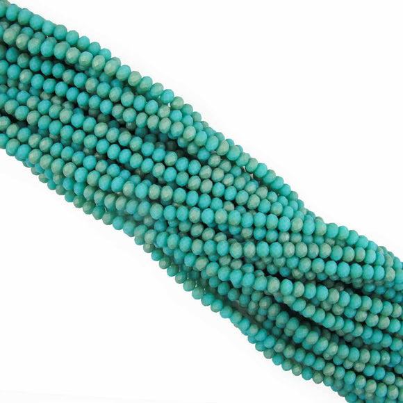 Cg 4x6mm faceted rondel matt teal 85p