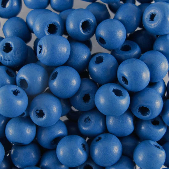 Wood 6mm rnd blue 20+g/300p