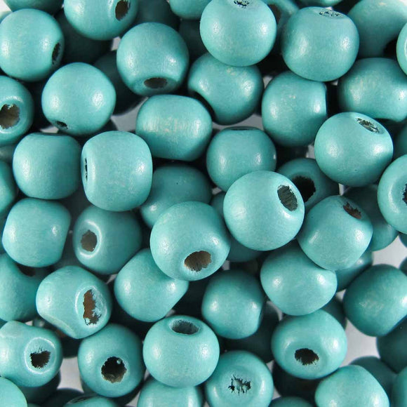 Wood 8mm rnd light teal 20g/110+p