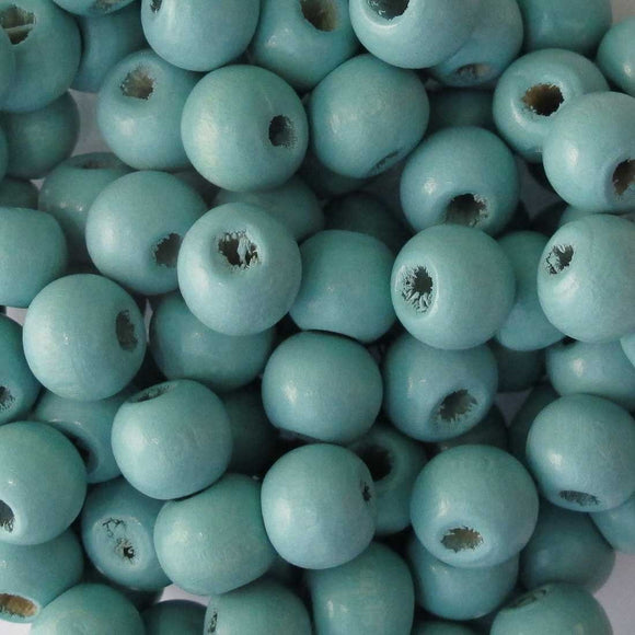 Wood 10mm rnd light teal 30g/100p