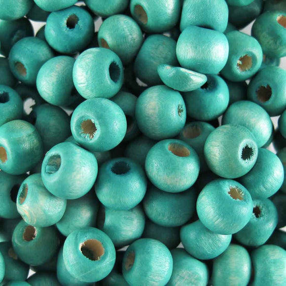 Wood 10mm rnd med teal 30g/100p