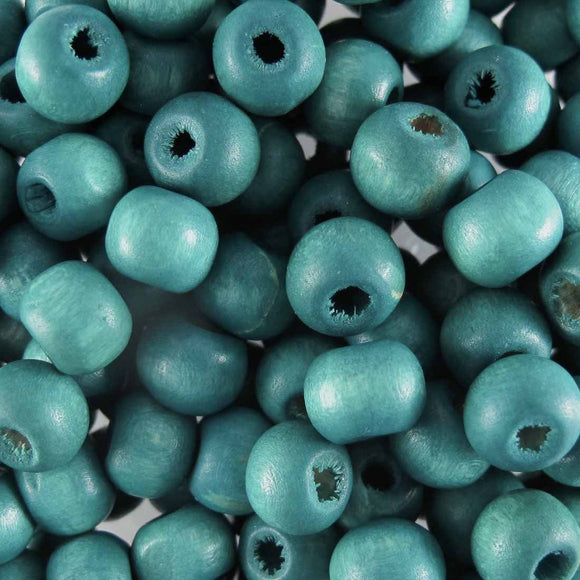 Wood 10mm rnd dark teal 30g/100p