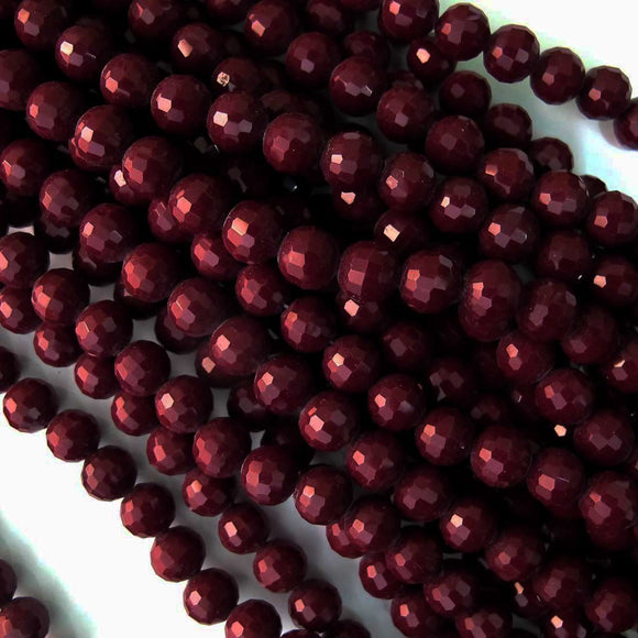 Cg 10mm rnd faceted maroon 38+pcs