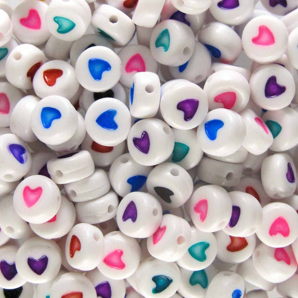 Plas 7mm coin heart multi/whit 200pcs