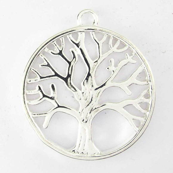 Metal 25mm rnd Tree of life NF sil 2pc