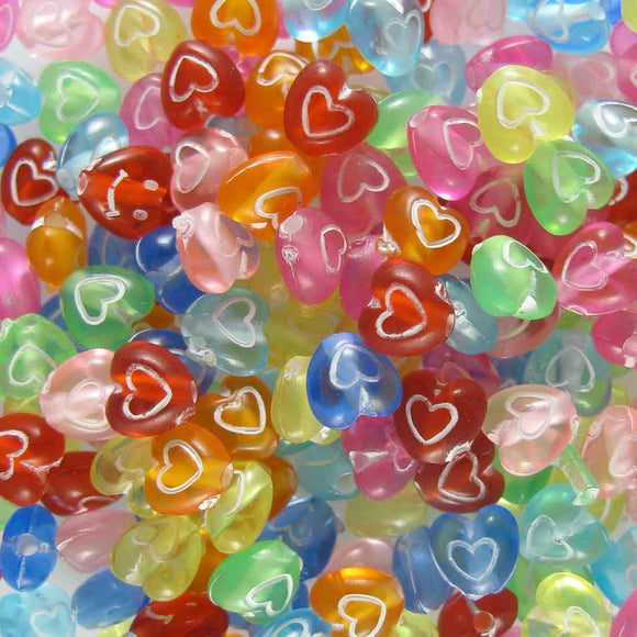 Plas 6mm heart multi colours 190pcs