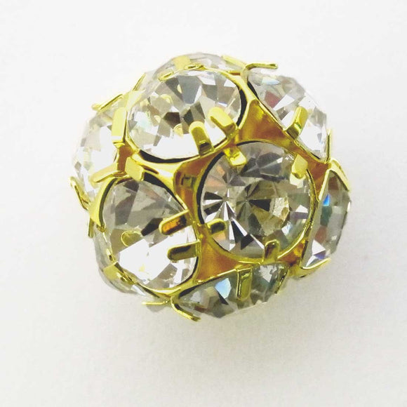 Metal 18mm rnd diamante gold clear 2pcc
