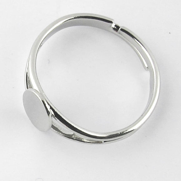 Metal 8x6mm oval plate ring NF nkl 6pcs
