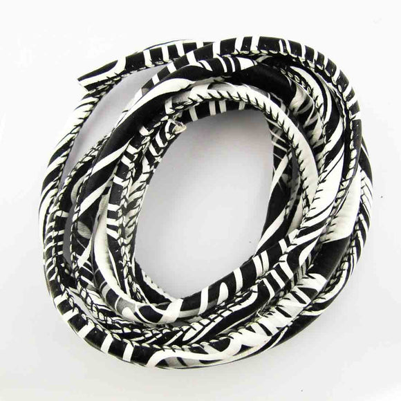 Cord 5mm rnd african cord blk/whit 2mts