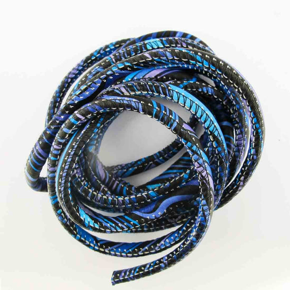 Cord 5mm rnd african cord blue mix 2mts