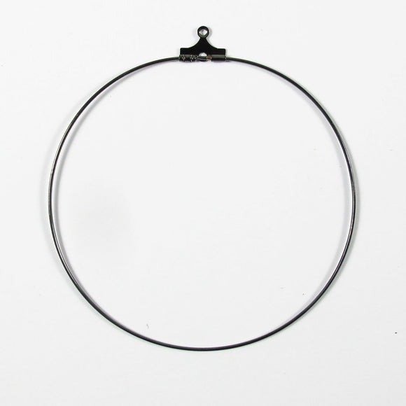Metal 60mm round hoop black 10pcs