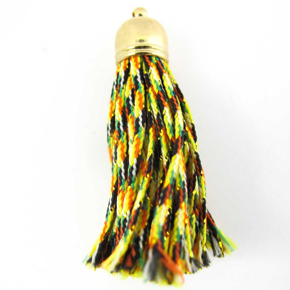 Thread 50mm tassel gold/citrus 2pcs