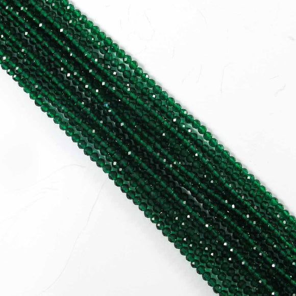 Semi prec 2mm rnd faceted emerald 170+p