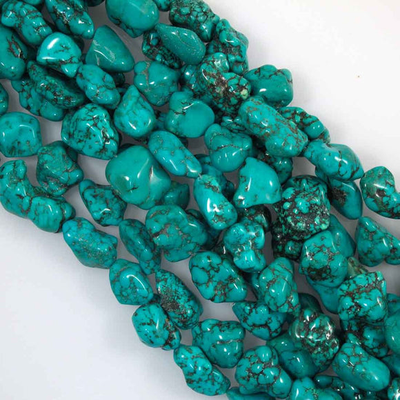 Semi prec 20x15mm nug howlite teal 19pc