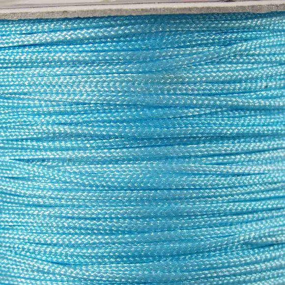 Cord 1mm rnd woven light blue 60metres