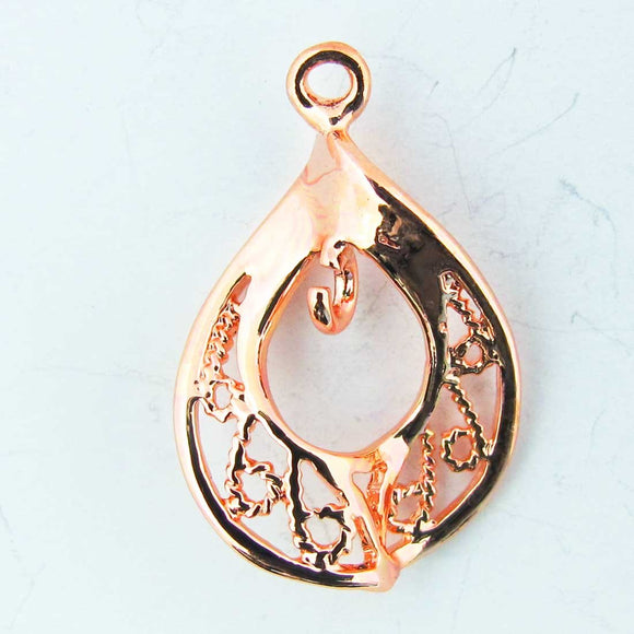 Metal 35mm filagree drop rose gold 4pc