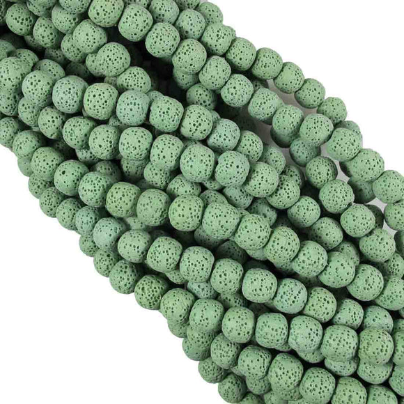 Semi Prec 8mm rnd lava stone fern 47pcs