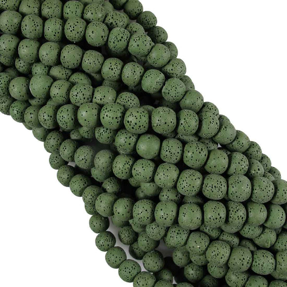 Semi Prec 8mm rnd lava stone khaki 47pc