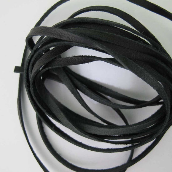 Leather 3mm flat LHG (MATT) black 2mts