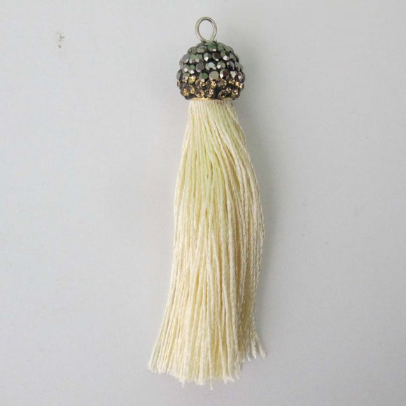 Thread 60mm hematite/cream tassel 2pcs
