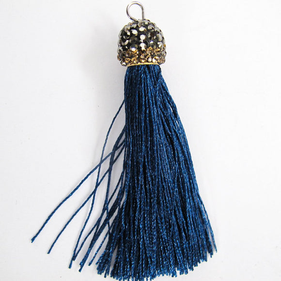 Thread 60mm hematite/blue tassel 2pc