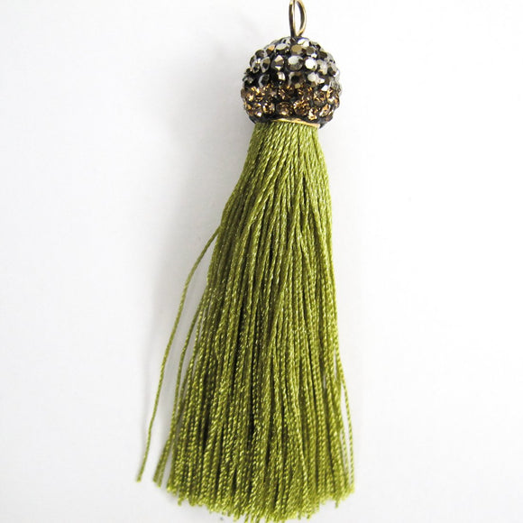 Thread 60mm hematite/olive tassel 2pcs