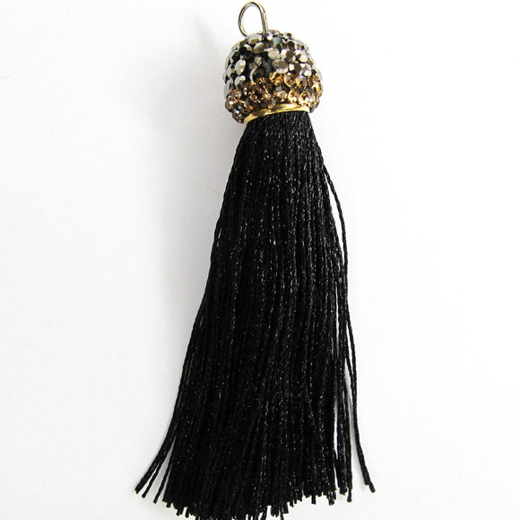 Thread 60mm hematite/black tassel 2pcs